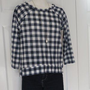 M&S COLLECTION - Navy/White casual checked top